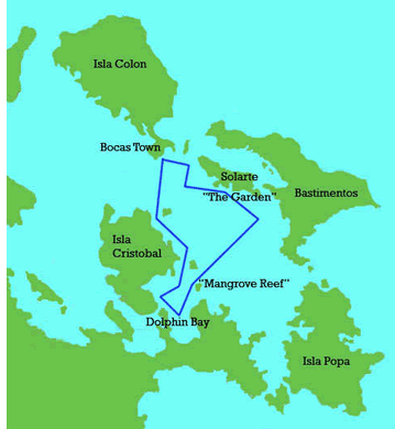 Daily Route of the Catamaran Sailing Tour in Bocas del Toro, Panama